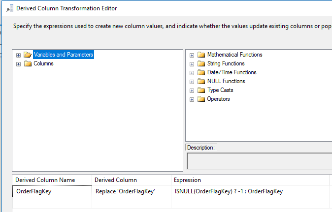 SQL derived column transformation editor