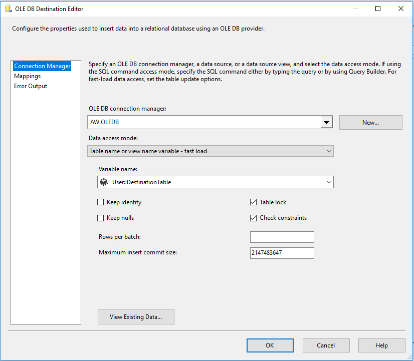 SQL OLE DB Destination Editor