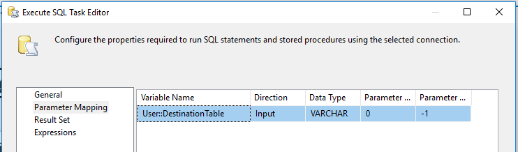 Execute SQL tasks parameter mapping