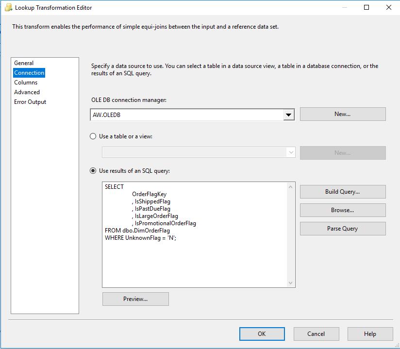 SQL lookup transformation editor
