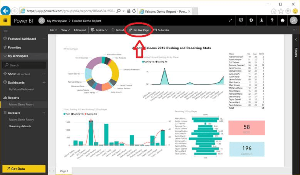 Pin Live Page Microsoft Power BI Desktop