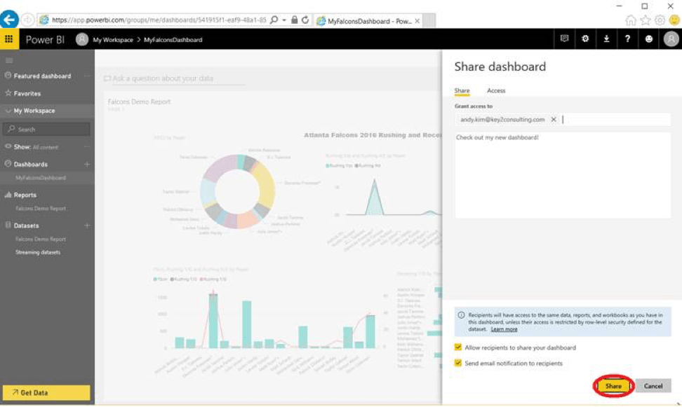 Share Microsoft Power BI dashboard