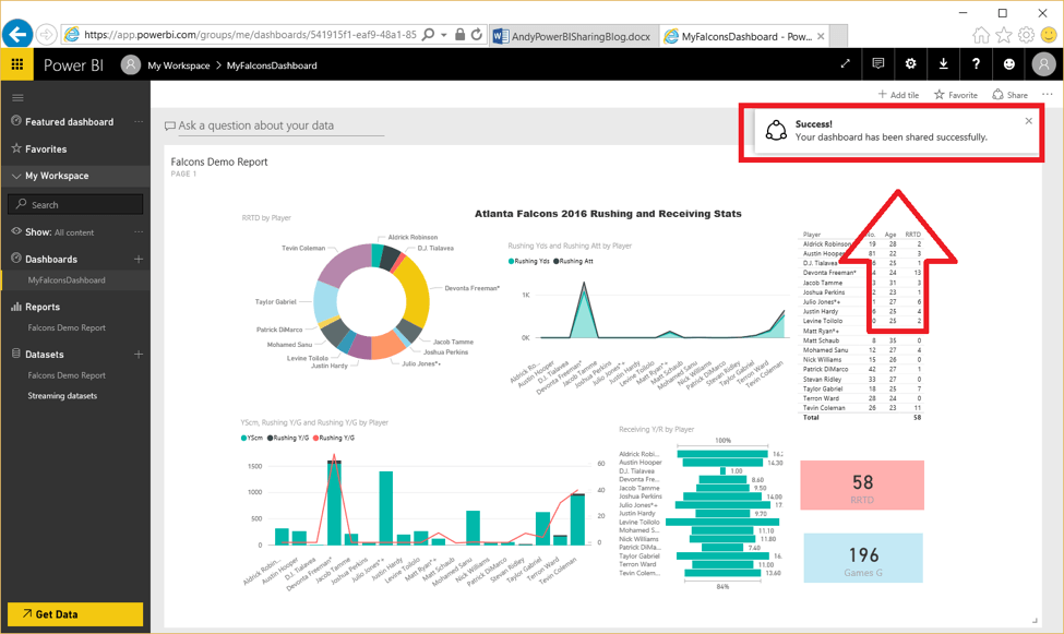 Atlanta Falcons Microsoft Power BI dashboard