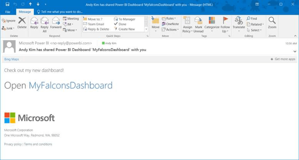 Notification email from sharing a Microsoft Power BI Desktop report