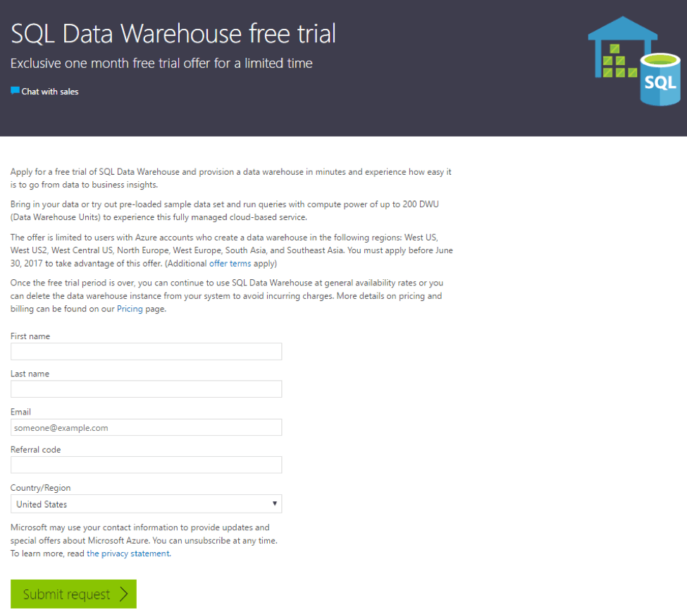 SQL Data Warehouse free trial