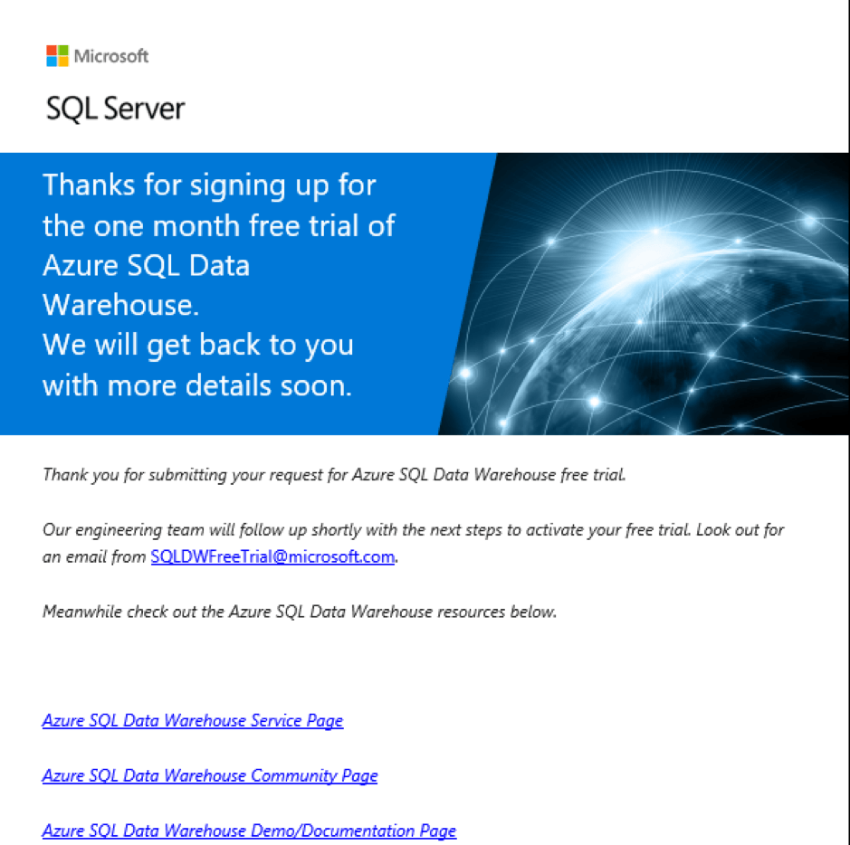 Microsoft SQL Server Azure SQL Data Warehouse thank you message