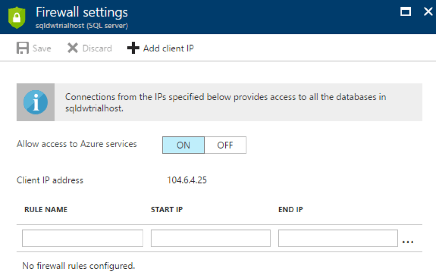 Azure sql data warehouse firewall settings configuration