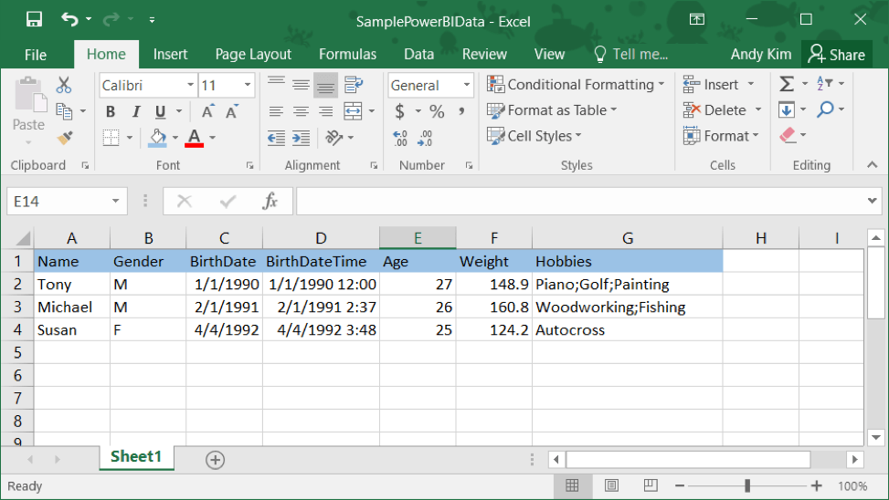 sample data set, excel