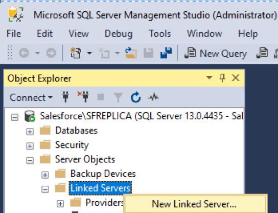 SQL Server Management Studio (SSMS) Linked Server