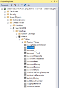 Salesforce Objects map to SQL Server tables