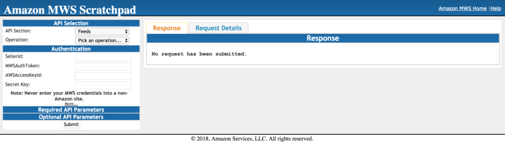 Amazon Marketplace Web Service (MWS) snapshot, featuring the Amazon MWS Scratchpad.
