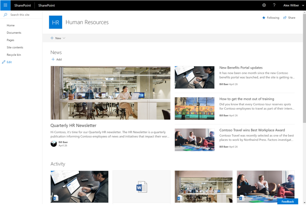 SharePoint 2019 Modern Team Site Home Page