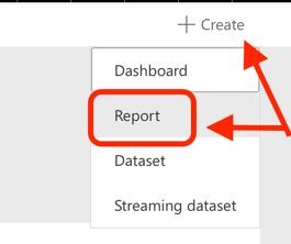 screenshot create report in Microsoft PowerBI