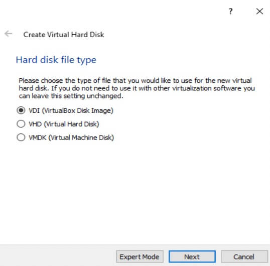 Create Virtual Hard Disk File Type