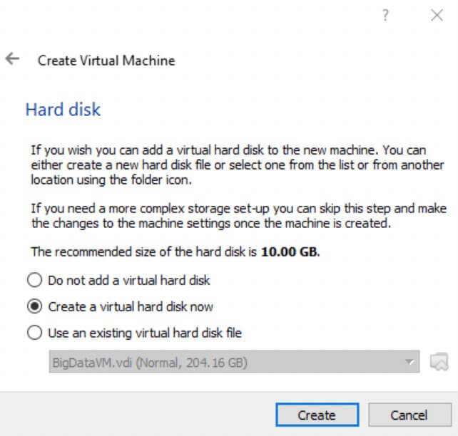 Create Virtual Machine Hard Disk