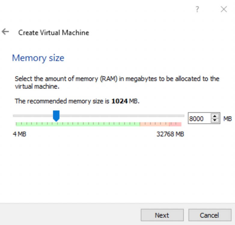 Create Virtual Machine Memory Size
