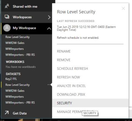 My Workspace Row Level Security Power BI