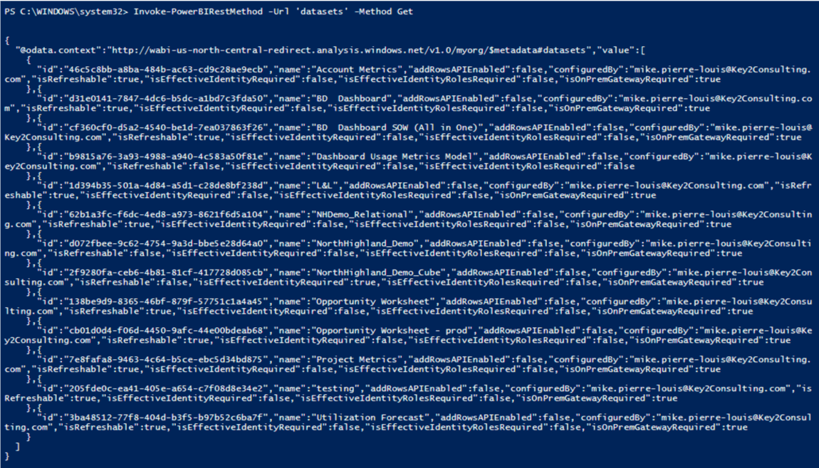 PowerShell Code Power BI