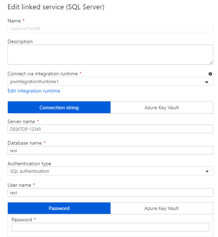 Edit Linked Service Azure Data Factory
