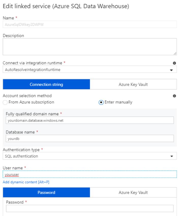 Edit linked service - Azure SQL Data Warehouse