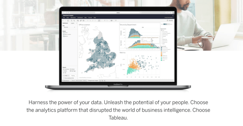 A screenshot of Tableau, the business intelligence tool