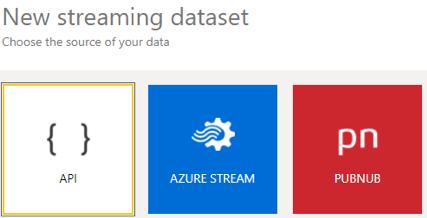 A screenshot of choosing a dataset for creating a new streaming dataset in Power BI.